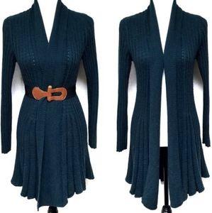 Stambecco Hunter Green Woven Wool Blend Cardigan